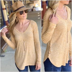 Infinity Raine Tops - Mustard ribbed side lace up tunic